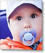 Young Baby Boy With A Dummy In His Mouth Outdoors Metal Print