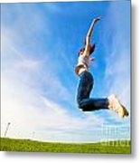 Young Beautiful Woman Jumping For Joy Metal Print