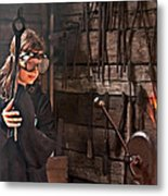 Young Blacksmith Girl Art Prints Metal Print
