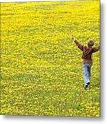 Young Boy Running Through Field Of Metal Print