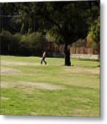 Young Boys Playing Cricket In A Park Near Delhi Zoo Metal Print