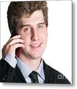 Young Business Man On The Cell Phone Metal Print