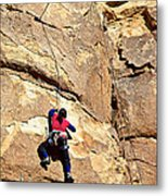 Young Climber In Joshua Tree Np-ca- Metal Print