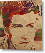 Young Clint Eastwood Actor Watercolor Portrait On Worn Parchment Metal Print