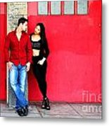 Young Couple Red Doors Metal Print