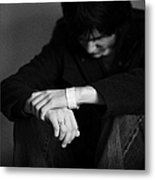 Young Dark Haired Teenage Man Sitting On The Floor With Back Against The Wall In The Fetal Position  Metal Print by Joe Fox