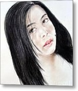 Young Filipina Beauty With A Mole On Her Cheek Model Kaye Anne Toribio Metal Print