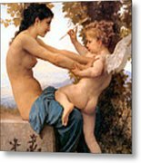 Young Girl Defending Herself Against Cupid Metal Print