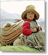 Young Girl In Peru Metal Print
