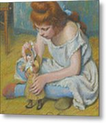 Young Girl Playing With A Doll Metal Print