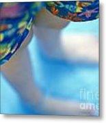 Young Girl Standing In Pool Metal Print