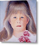 Young Girl With Roses Metal Print