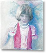 Young Girl With Umbrella Metal Print