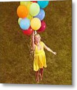 Young Happy Woman Flying On Colorful Helium Balloons Metal Print