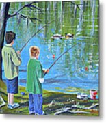 Young Lads Fishing Metal Print