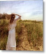 Young Lady In Vintage Clothing Watching A Biplane Metal Print
