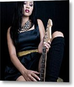 Young Lady With Guitar Metal Print