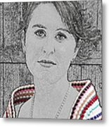 Young Lady With Multicolored Shawl Metal Print
