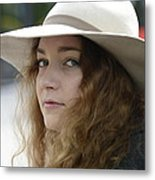 Young Lady With White Hat 1 Metal Print