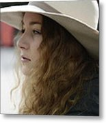 Young Lady With White Hat 2 Metal Print