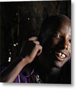 Young Maasai Warrior In The Village Metal Print