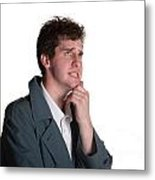 Young Man In Trench Coat Metal Print