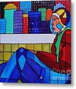 Young Man Sitting Metal Print by Deborah Glasgow