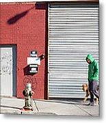Young Man Walks Dog Metal Print