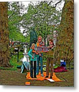 Young Musicians On Orange Day By A Canal In Enkhuizen-netherland Metal Print