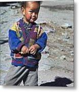 Young Nepalese Girl In Manang Metal Print
