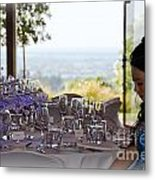 Young Party Girl Waiting For Guests Metal Print