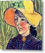 Young Peasant Girl In A Straw Hat Sitting In Front Of A Wheatfield Metal Print