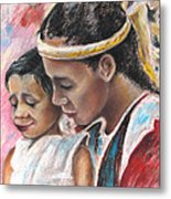 Young Polynesian Mama With Child Metal Print