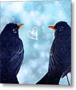 Young Robins In Love Metal Print