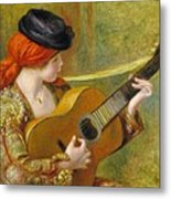 Young Spanish Woman With A Guitar Metal Print