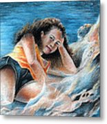 Young Tahitian Mermaid Metal Print