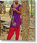 Young Tharu Village Woman In Traditional Nepali Clothing-nepal  Metal Print