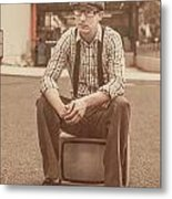 Young Vintage Man Seated On Old Tv Metal Print