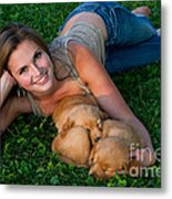 Young Woman And Golden Retriever Puppies Metal Print