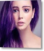 Young Woman Anime Style Beauty Portrait With Large Eyes And Purp Metal Print