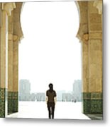 Young Woman At Mosque Gate Metal Print