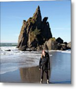 Young Woman Backpacking Near Third Metal Print
