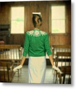 Young Woman Balancing A Book On Her Head Metal Print