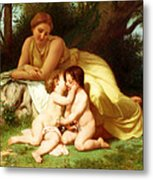 Young Woman Contemplating Two Embracing Children Metal Print