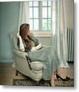 Young Woman In A Chair Metal Print