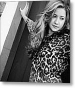 Young Woman In Black And White Metal Print