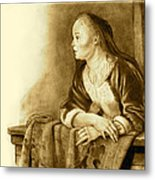 Young Woman On A Balcony Sepia Metal Print