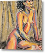Young Woman Resting And Contemplating Metal Print