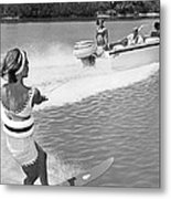 Young Woman Slalom Water Skis Metal Print