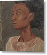 Young Woman With An Afro Metal Print